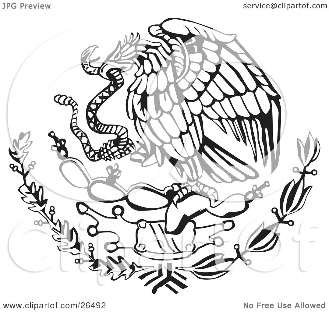 1080x1024 Clipart Illustration Of The Mexican Coat Of Arms Showing The Eagle