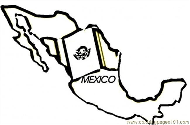 650x430 Mexico Map Coloring Page
