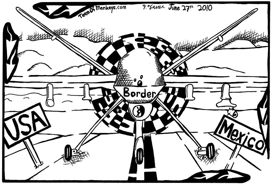 900x611 Reaper Drone For The Us Mexico Border By Yonatan Frimer Drawing By