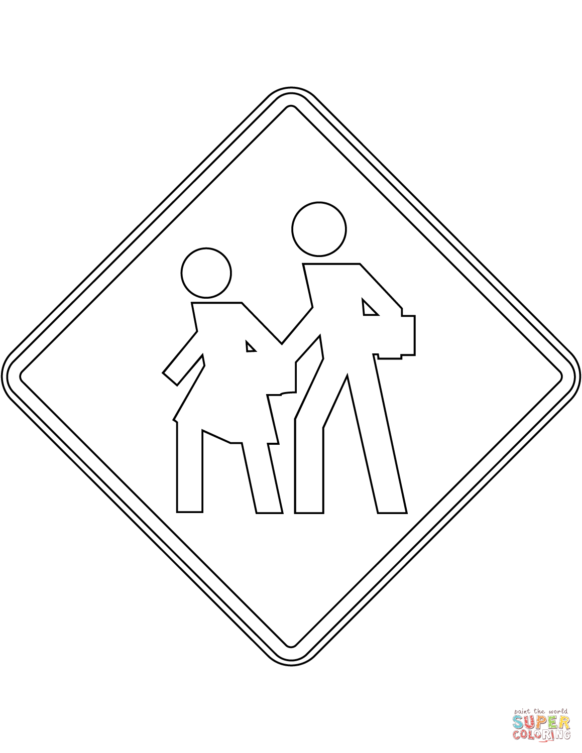 1159x1500 School Zone Sign In Mexico Coloring Page Free Printable