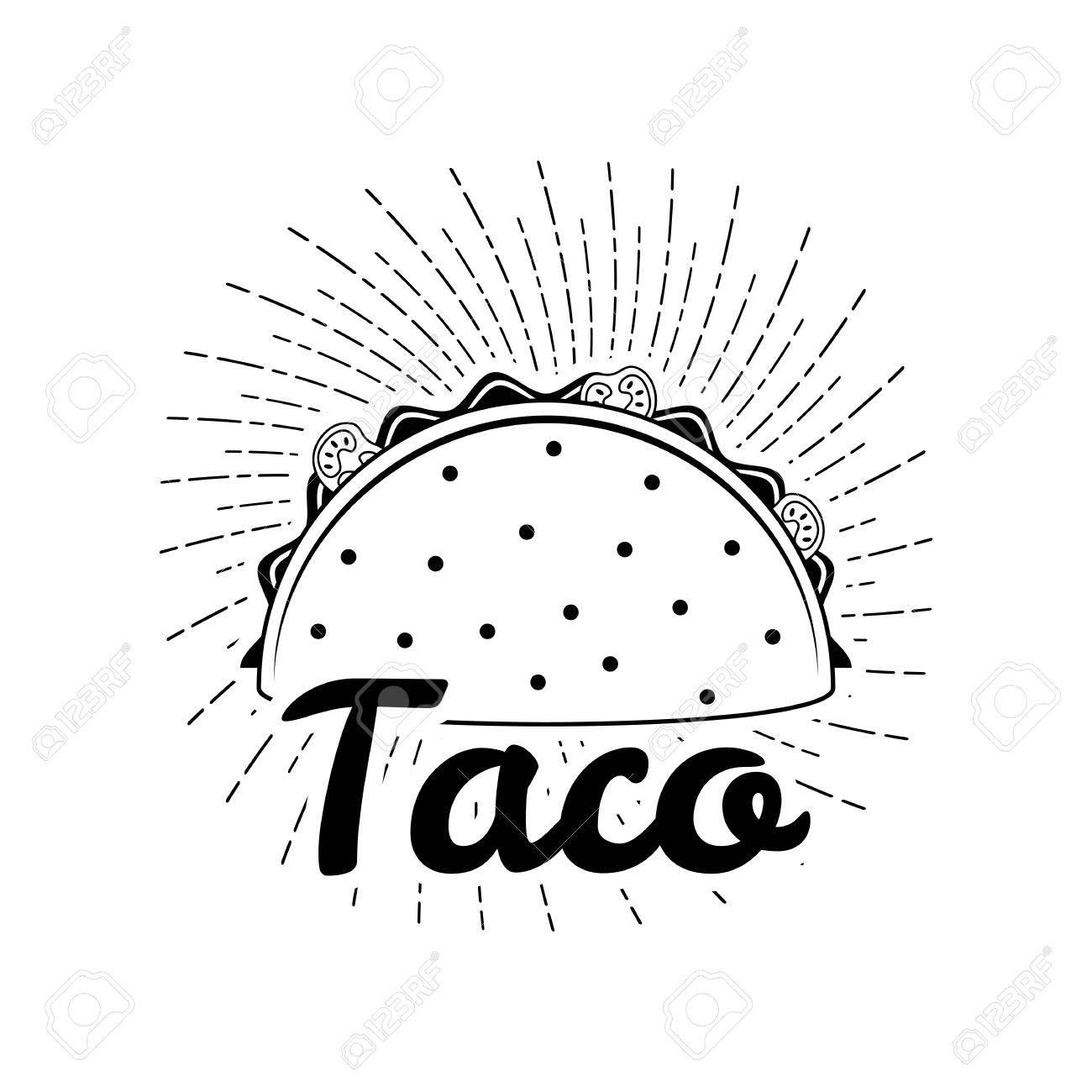 1300x1300 Taco Illustration On White Background, Isolated. Mexico Food