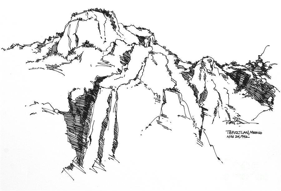 900x612 Tepoztlan Mexico Mountains Drawing By Robert Birkenes