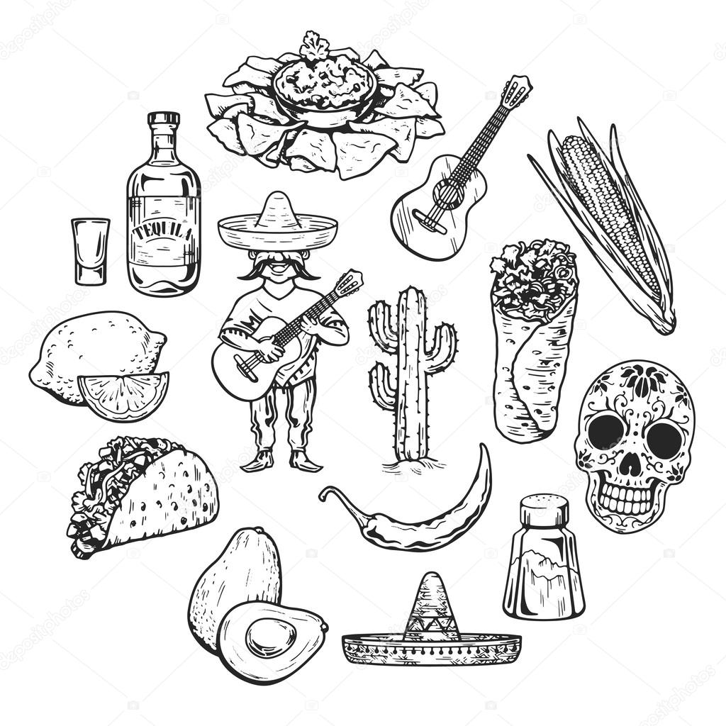 1024x1024 Travel To Mexico Food Culture Drink Cuisine Hand Draw Vector Icons