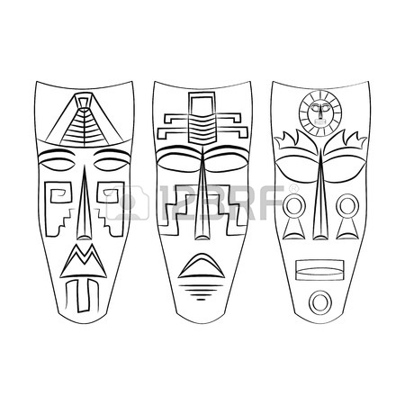450x450 Warrior Bonnet Aztec Head. Hand Drawing. Old Mexico Royalty Free