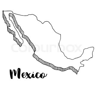 320x320 Doodle Freehand Map Sketch Of Mexico ,vector Illustration Stock