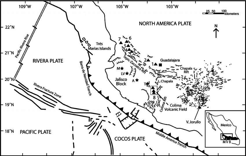 850x538 General Tectonic And Geologic Map Of Western Mexico, Modified