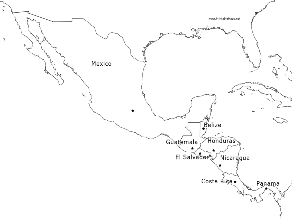 1024x768 Map Of Mexico And Central America Blank