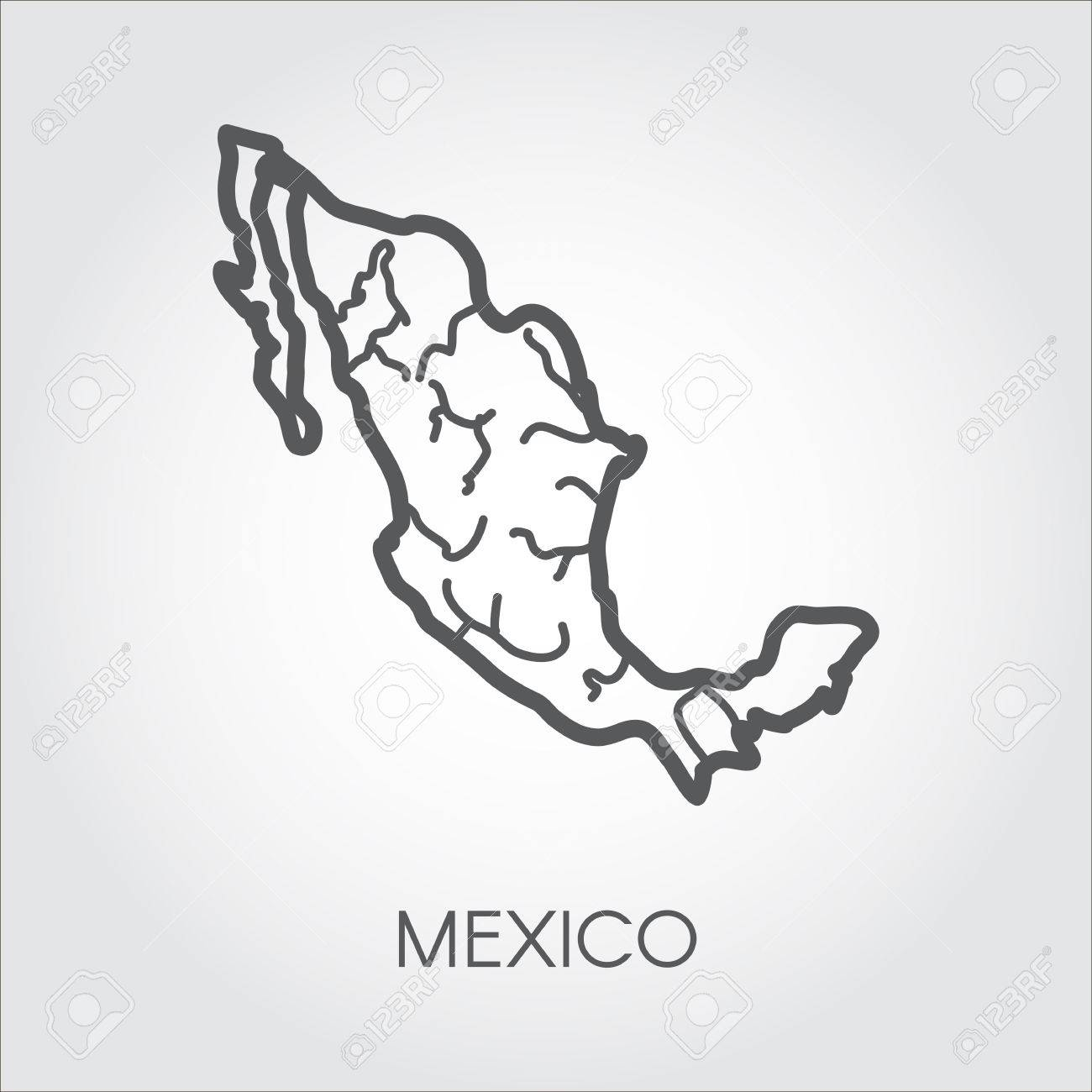 1300x1300 Mexico Linear Map Icon. Simplicity Shape Of Country For Atlas