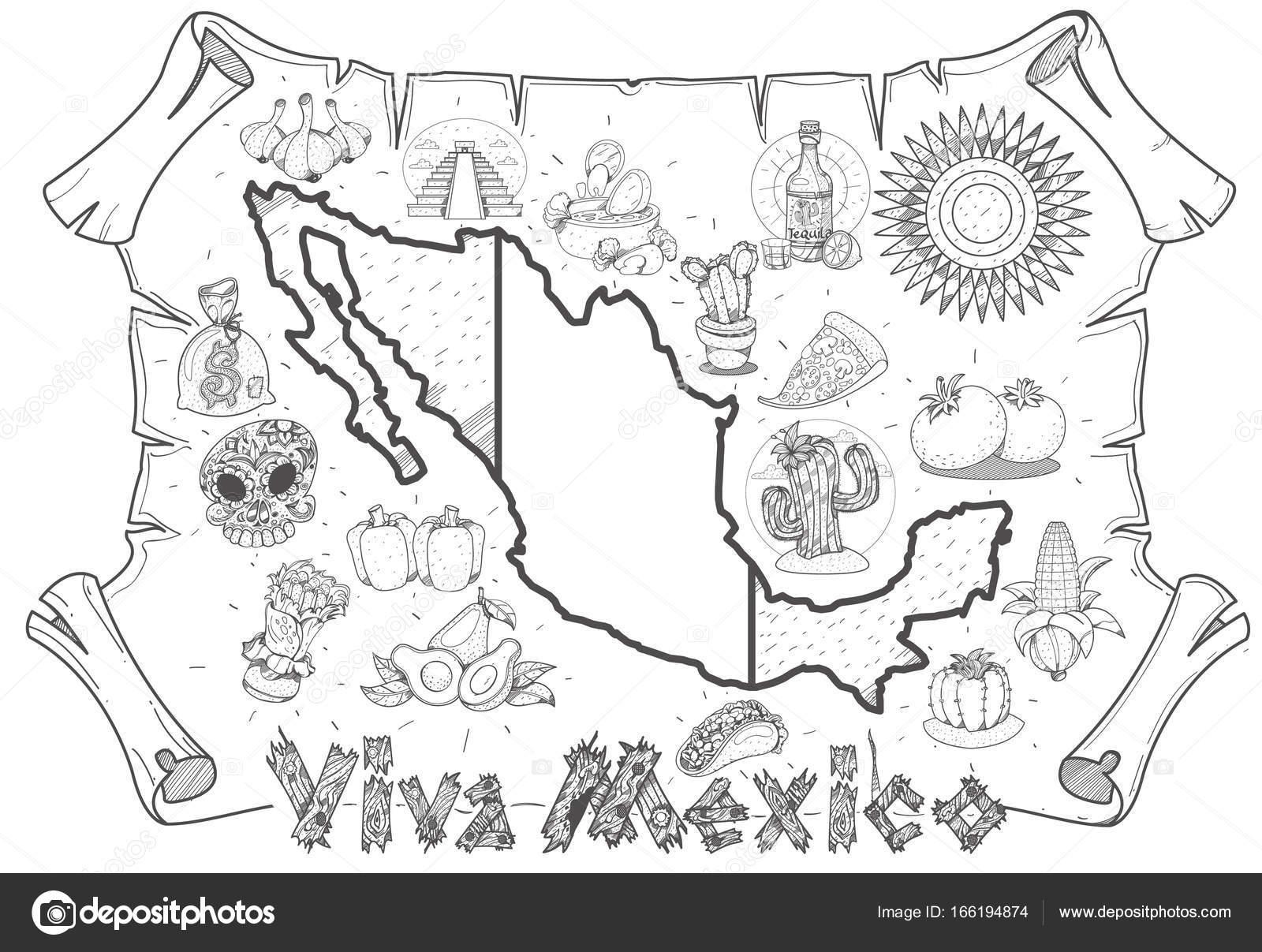 1600x1207 Mexico Map Poster Stock Vector Filkusto