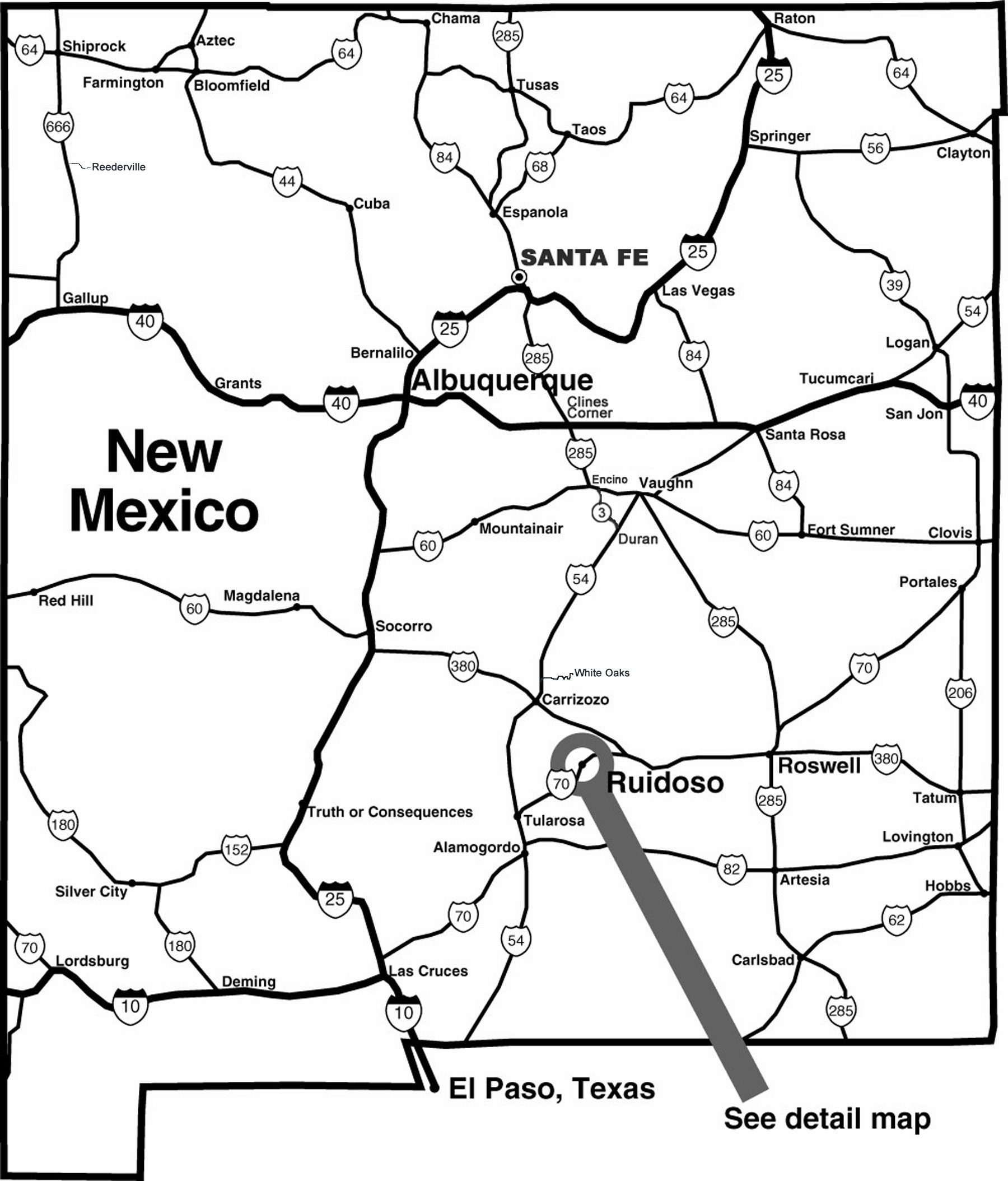 1800x2108 New Mexico Tourist Map