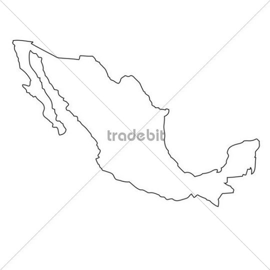 540x540 Outline, Map Of Mexico