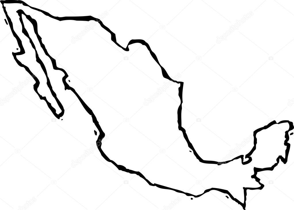 1023x729 Woodcut Illustration Of Map Of Mexico Stock Vector Ronjoe