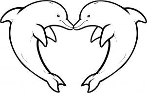 302x193 How To Draw Love Dolphins, Dolphin Heart Step 10 Christmas