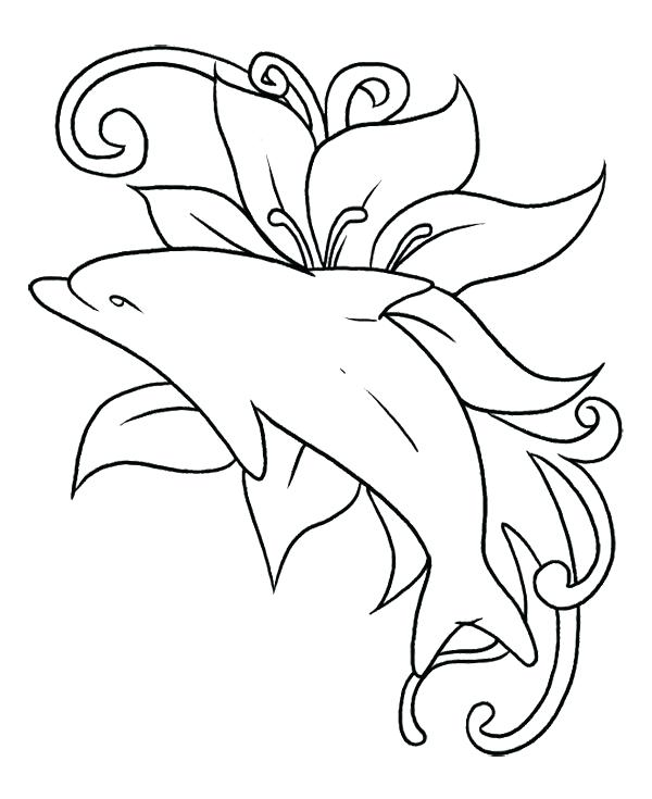 600x735 Coloring Pages Dolphins The Dolphin Was Playing In In A Sea