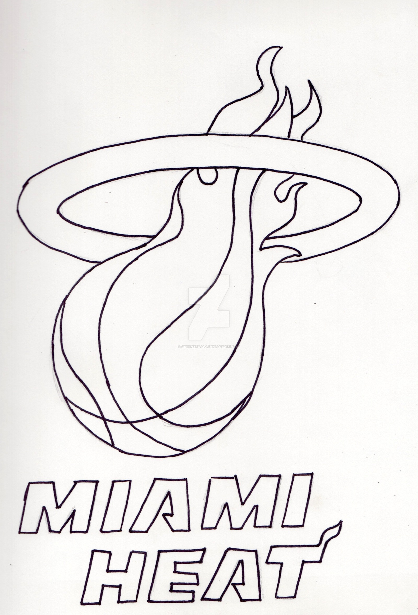 1600x2350 Miami Heat Logo Inked By Greenxkoala