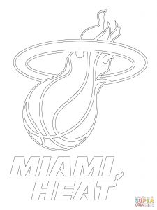 225x300 Miami Heat And Nba Logo Coloring Pages General Printable Free High