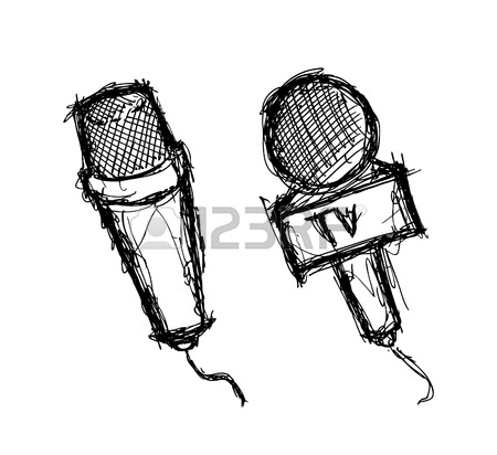 450x412 Hand Drawn Microphone Royalty Free Cliparts, Vectors, And Stock