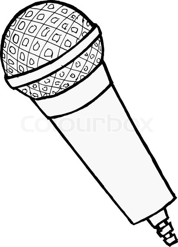 575x800 Hand Drawn, Cartoon, Vector Illustration Of Microphone Stock