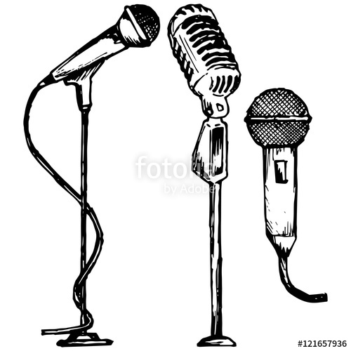 500x500 Set Microphone. Vector Illustration, Doodle Style Stock Image