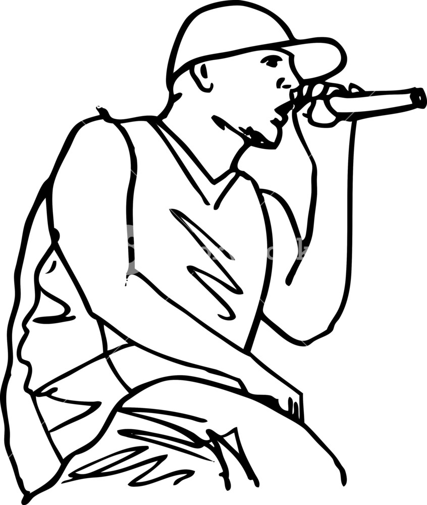 846x1000 Sketch Of Hip Hop Singer Singing Into A Microphone. Vector