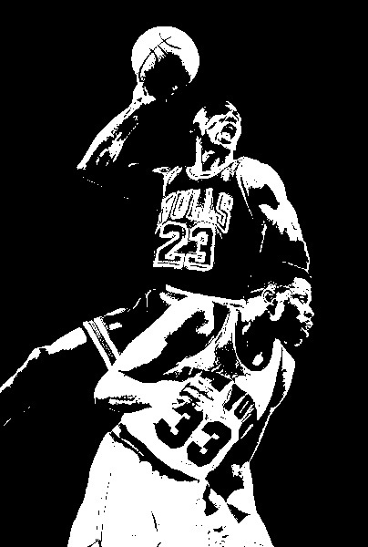 404x600 Michael Jordan Dunked On Patrick Ewing Black White Art Oil