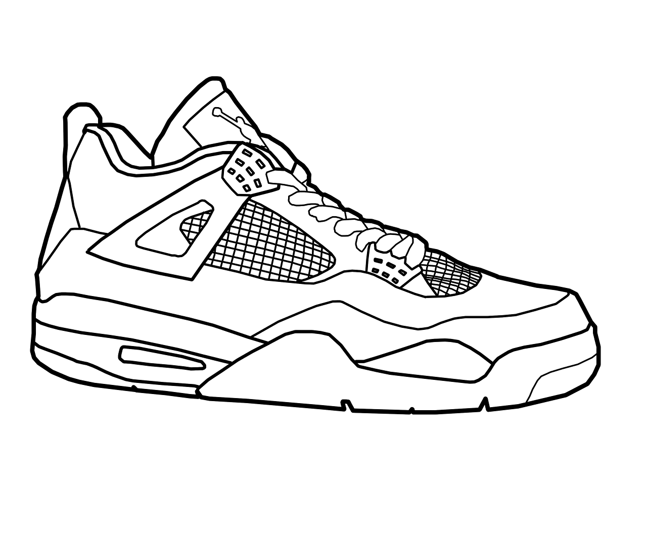 1280x1067 Jordan Shoes Black And White Drawing Model Aviation