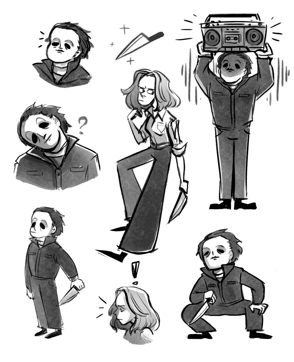 1024x1260 Michael Myers And Laurie Strode (Halloween 1978) By Yodeki