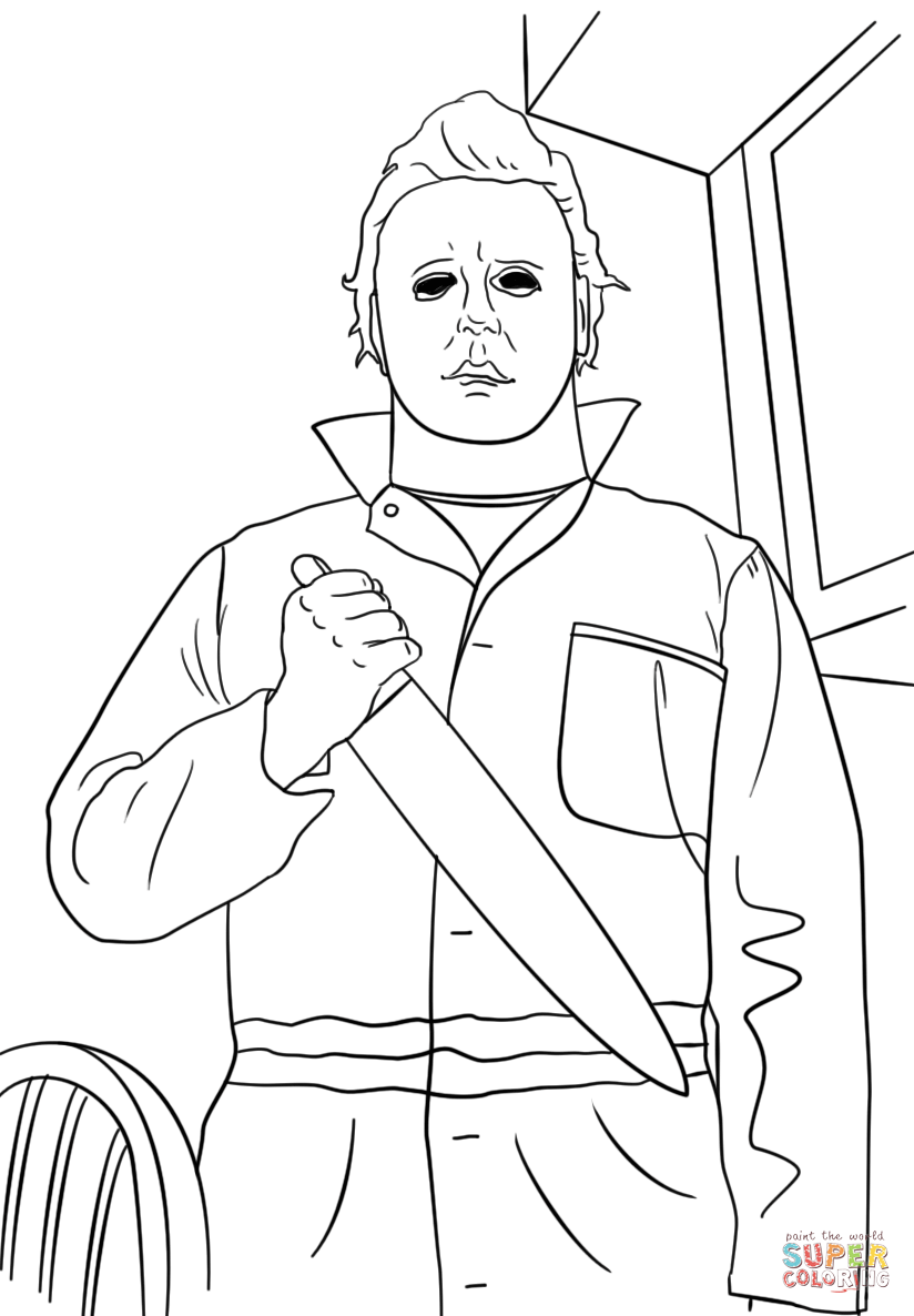 824x1186 Michael Myers Coloring Page Free Printable Coloring Pages