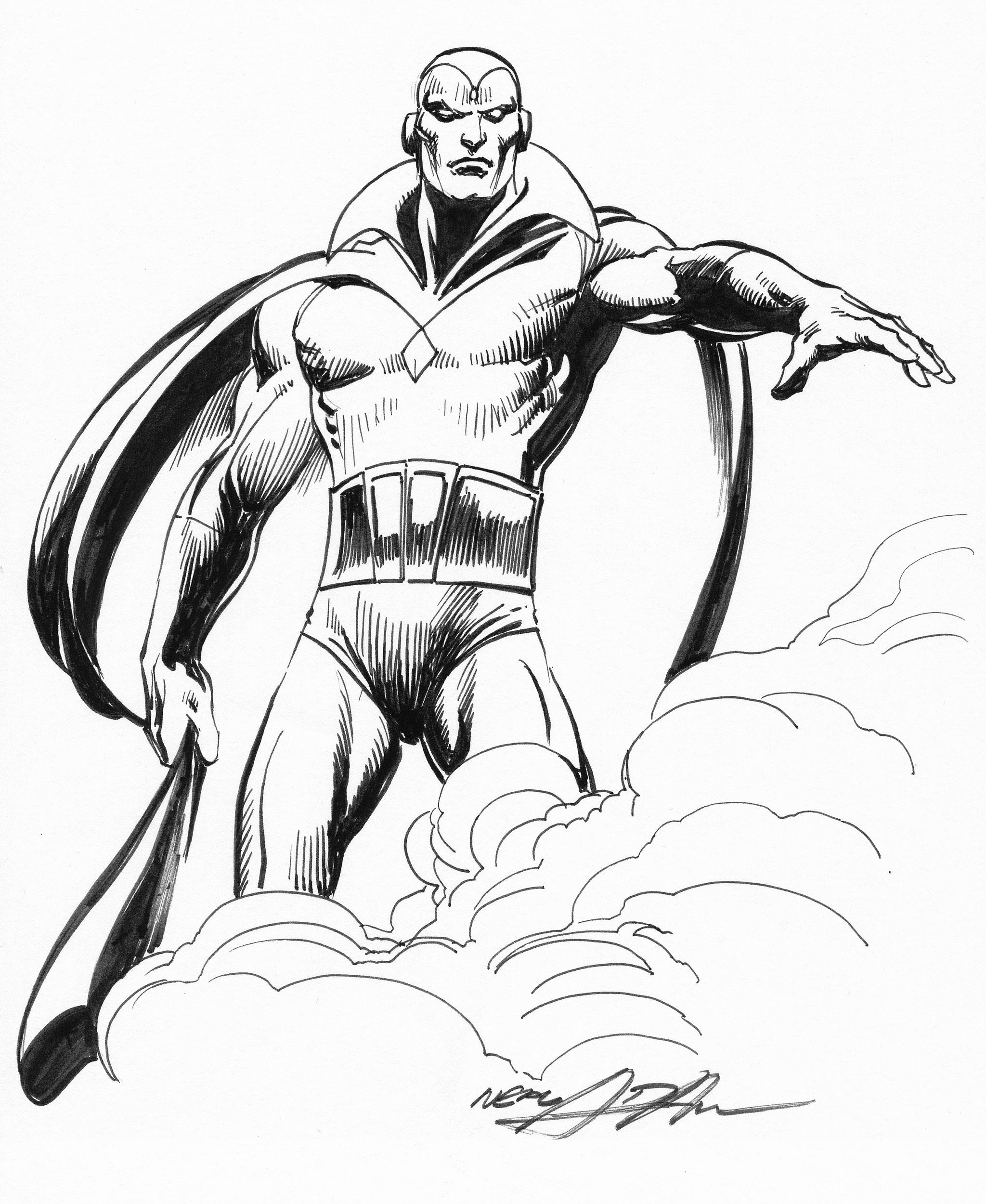 2048x2500 Neal Adams Original Inked Vision Drawing Comic Artwork For Sale
