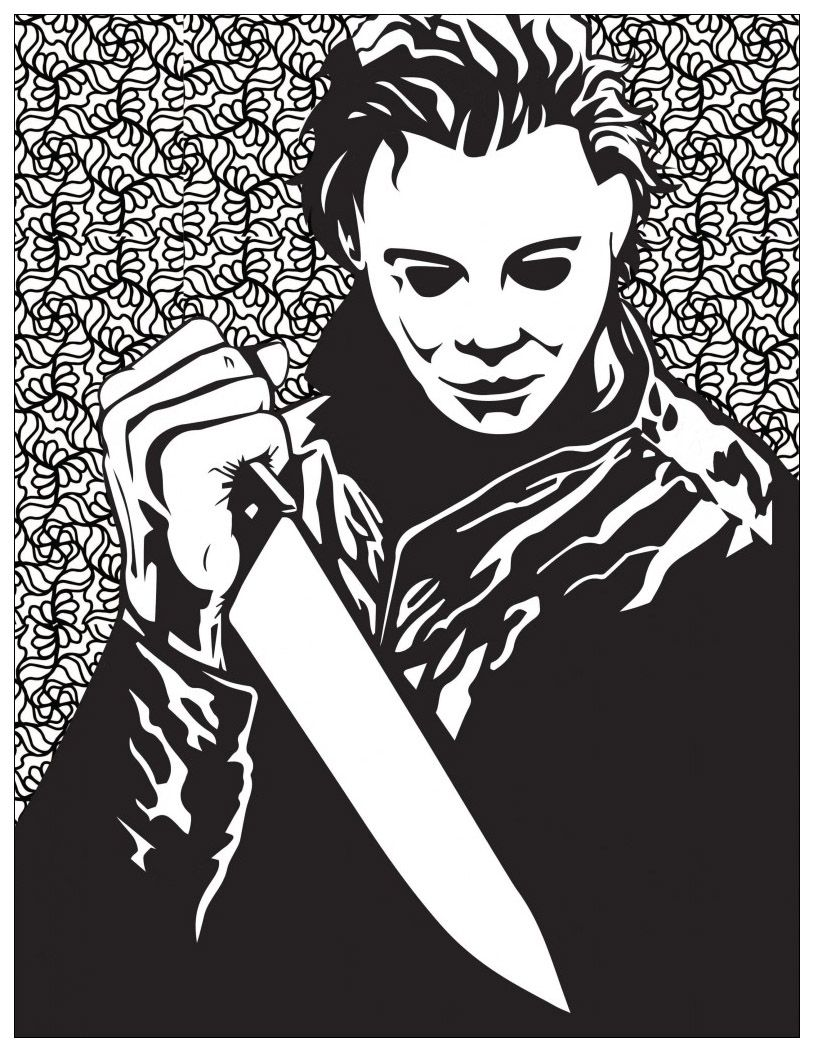 814x1052 Classic Horror Movies Coloring Pages Michael Myers (Halloween