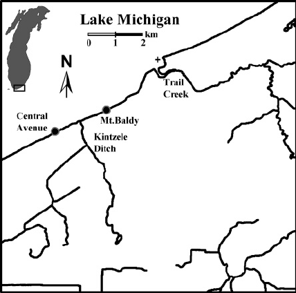 428x424 Map Of Southern Lake Michigan Showing The Indiana Shoreline