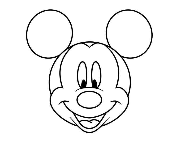 800x625 How To Draw Mickey Mouse Face For Kids