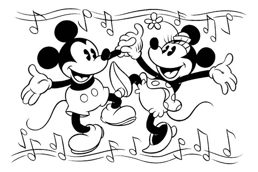 850x567 Mickey and Minnie Mouse coloring pages for you to color in
