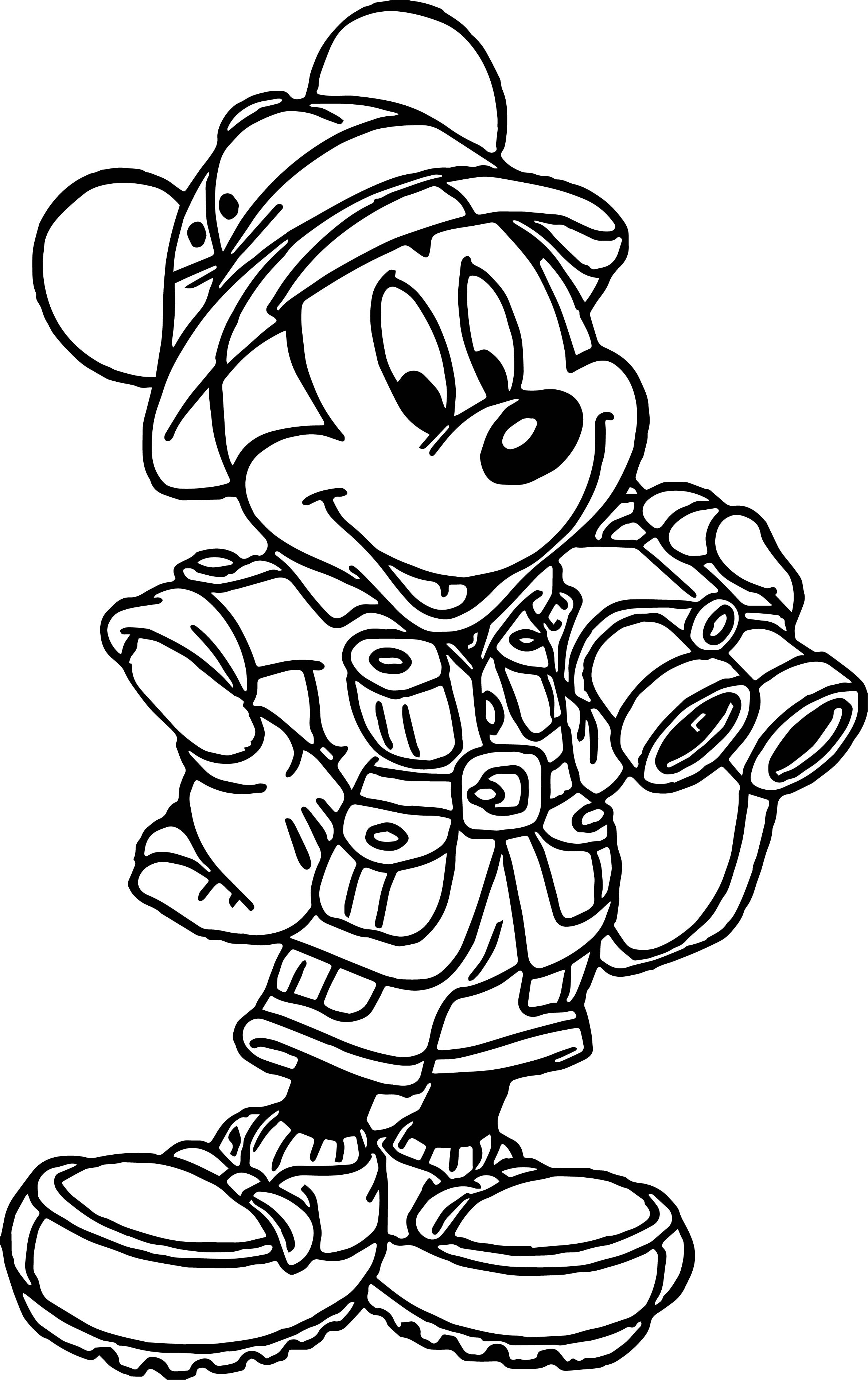 2381x3785 Mickey Mouse Cartoon Animal Kingdom Travel Coloring Page