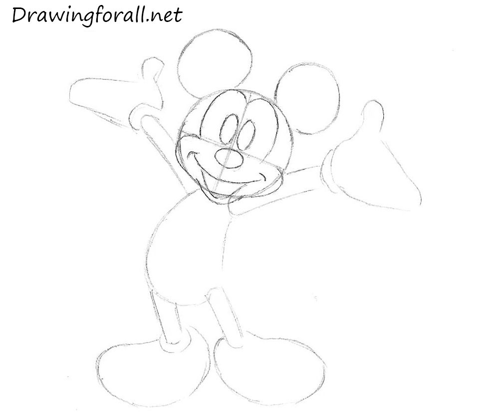 1000x833 How To Draw Mickey Mouse Step By Step For Kids