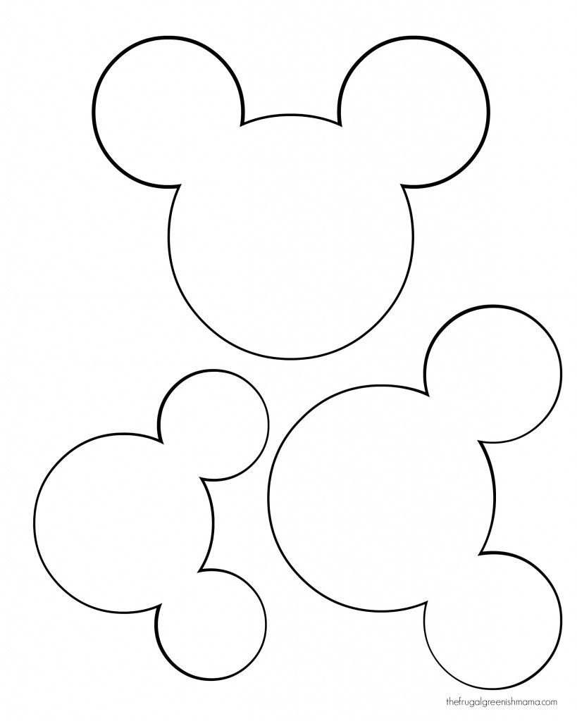 mickey mouse head shape template - mickey mouse ears drawing at free for