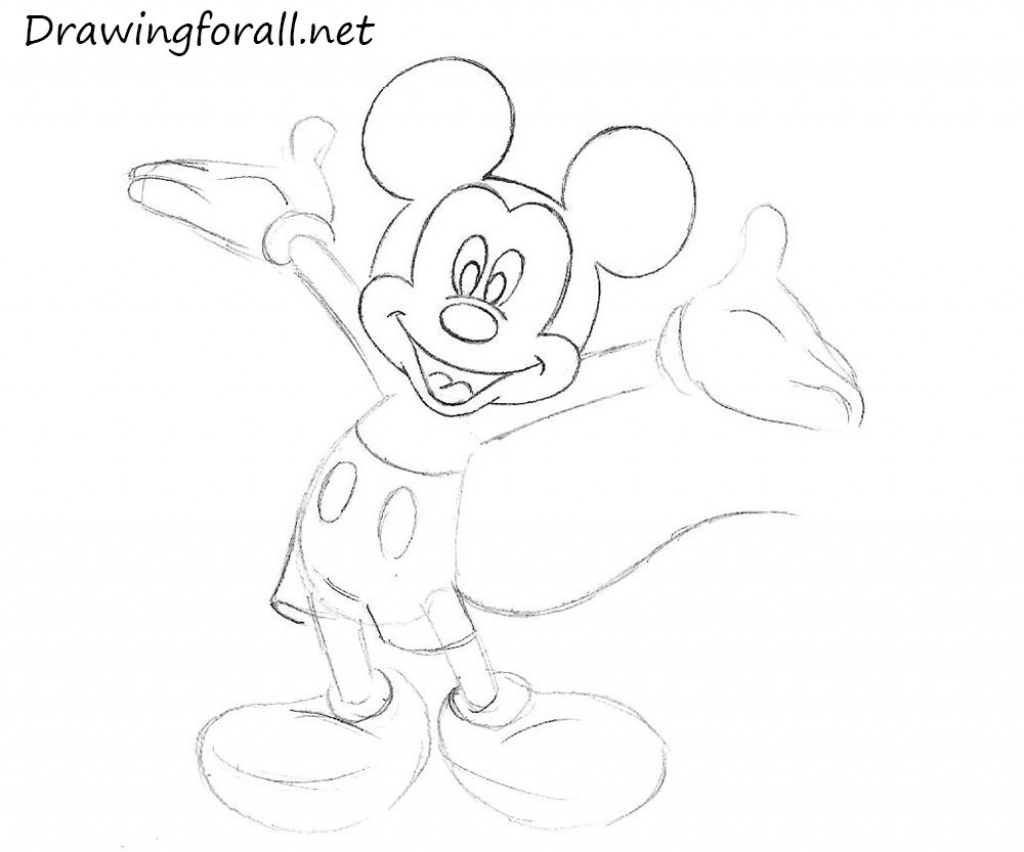 1024x852 Mickey Mouse Sketch How To Draw Mickey Mouse Drawingforall