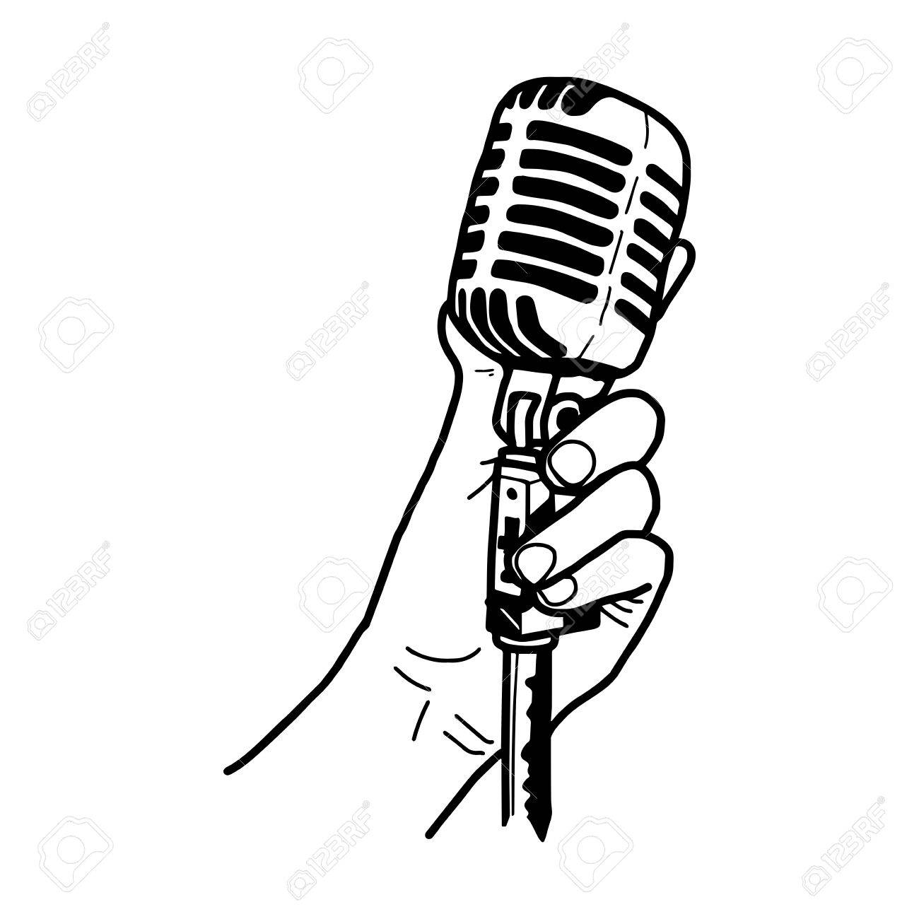 1300x1300 Illustration Doodles Of Hand Holding Retro Microphone Isolated