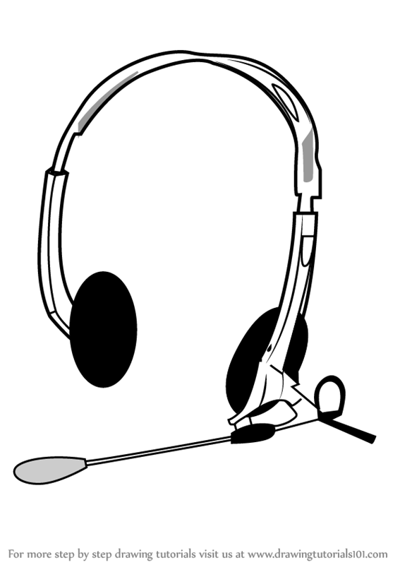567x800 Learn How To Draw Headphones With Microphone (Musical Instruments