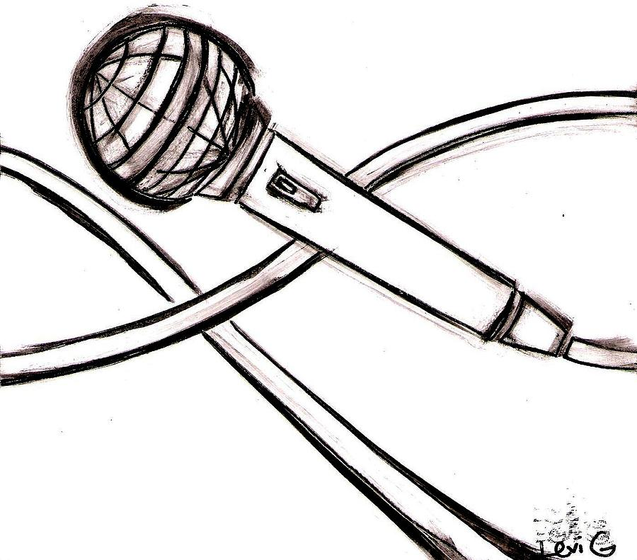 900x791 Microphone Drawing By Levi Glassrock