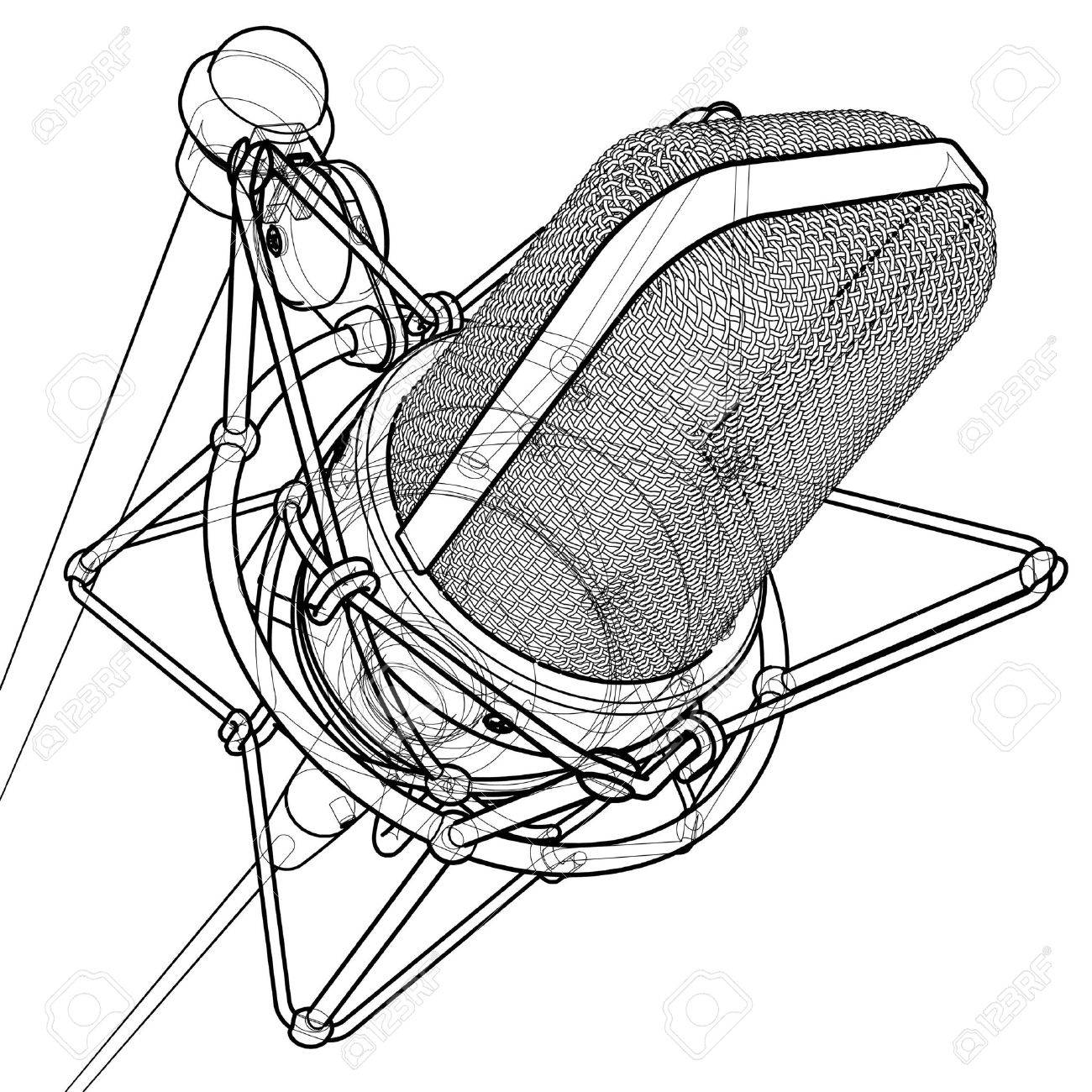 1300x1300 Professional Microphone 3d Wire Frame Technical Draw Stock Photo