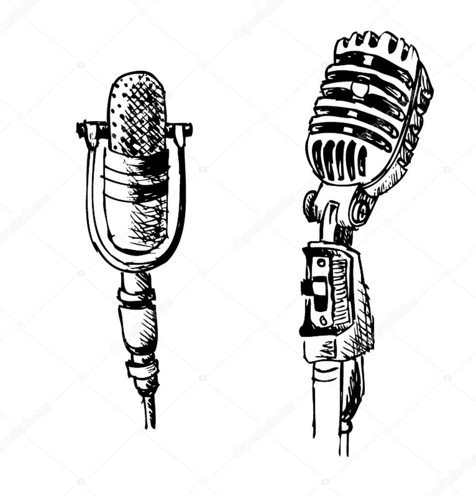 Microphone With Stand Drawing Microphone Draw...