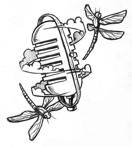 450x500 Microphone With Bugs Tattoo 2 D Clouds, An Old Mic,