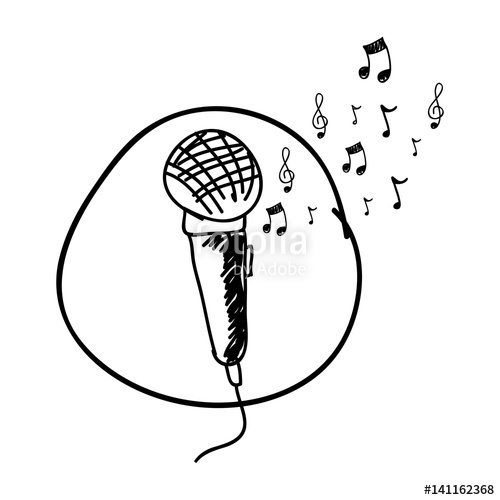 500x500 Monochrome Hand Drawing Of Microphone In Circle And Musical Notes