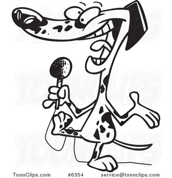 581x600 Cartoon Blacknd White Line Drawing Of Dalmatian Using