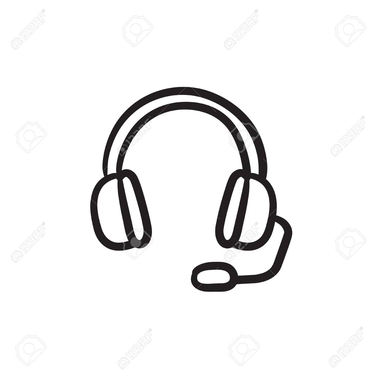 1300x1300 Headphone With Microphone Vector Sketch Icon Isolated