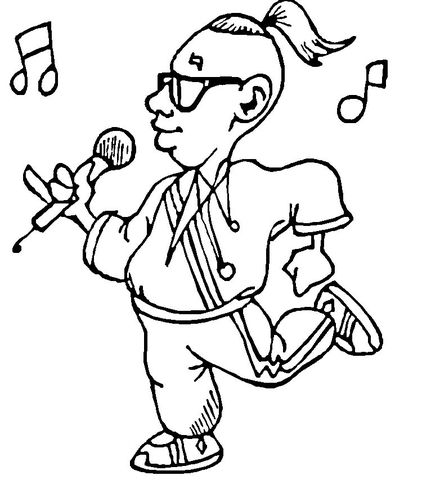 422x480 Singing In Microphone Coloring Page Free Printable Coloring Pages