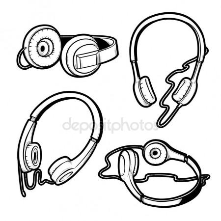 450x450 Vector Black And White Sketch Illustration Of Set Of Headphones