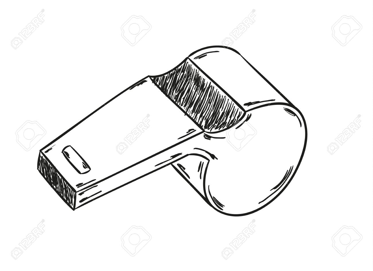 1300x946 Sketch Of The Whistle On The Black Background Royalty Free