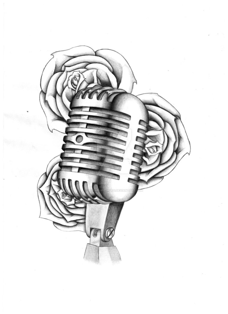 762x1048 Mic And Rose Tattoo Design By Rorathrath2611